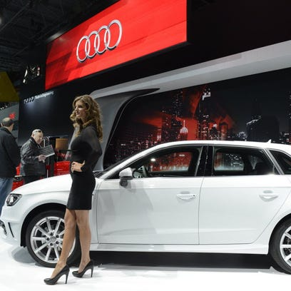 An Audi A3, shown here at the New York Auto show last