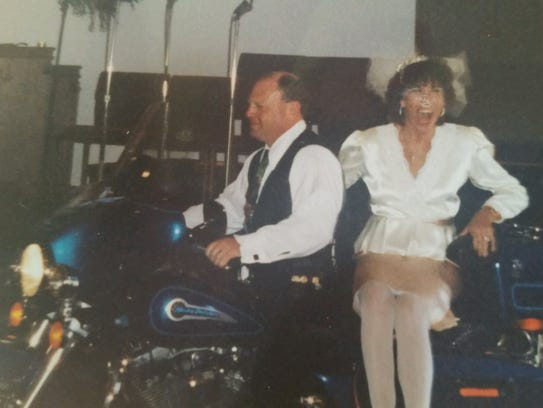 Mary and Frank Fuchs were married on a Harley Davidson.