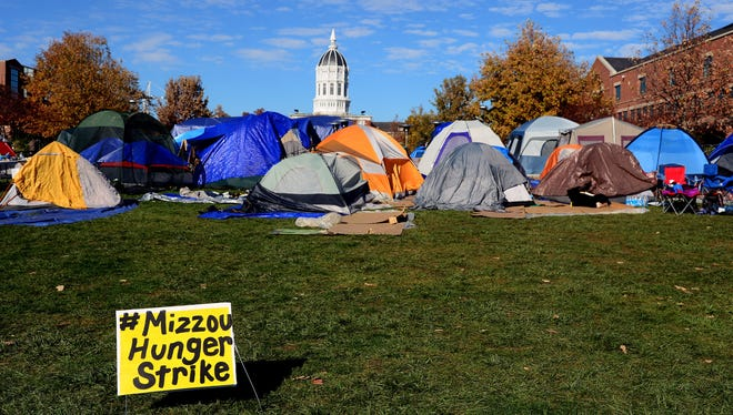 A tent city set up for members of the Concerned 1950 protest group on the campus of the University of Missouri-Columbia.