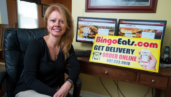 Jennifer Wlostowski co-owns and operates local food delivery service BingoEats.com from her home in Vestal.