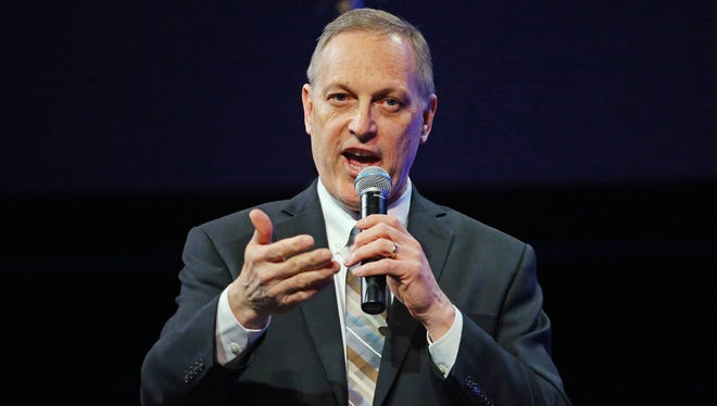 U.S. Rep. Andy Biggs holds a  town-hall meeting in Mesa on April 11, 2017.