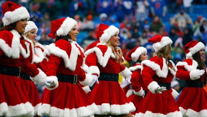 Buffalo Jills cheerleaders perform before a game between the Buffalo Bills and the Miami Dolphins at Ralph Wilson Stadium in 2013.