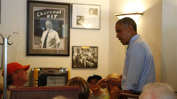 President Barack Obama stops at Charcoal Pit on Concord Pike for lunch Thursday, July 17, 2014.