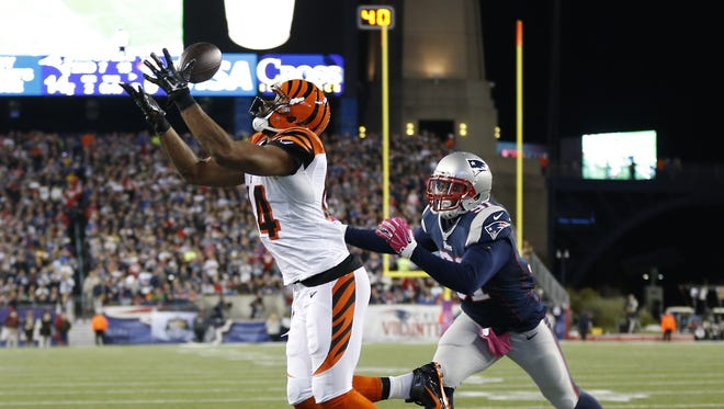 Cincinnati Bengals tight end Jermaine Gresham (84) can't make the catch in the end zone against the New England Patriots outside linebacker Jamie Collins (91) in the third quarter at Gillette Stadium.