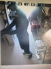 An image captured from surveillance video shows a man suspected of robbing the Culver's at 710 Highway 1 West in Iowa City.