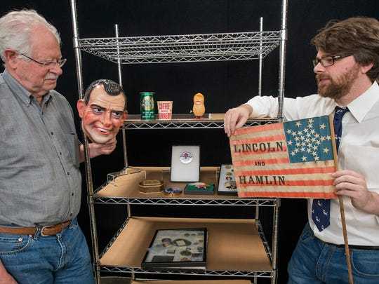 Ted Hake, left, and Scott Mussell, co-chairs of the Historical and Pop Culture convention, at Hake's Americana & Collectables in Springettsbury Township Tuesday June 28, 2016. The Historical and Pop Culture Collectors convention will be free and open to the public and the weekend of July 9, allowing anyone to get a glimpse into American politics both current and as far back as two centuries ago.