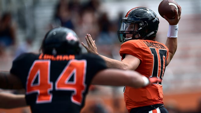 Oregon State quarterback Darell Garretson has the inside track on the starting job.