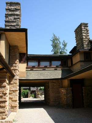 A part of the agriculture wing at Frank Lloyd Wright's home, called Taliesin, is shown on July 5, 2008. The agricultural wing once held stables, a dairy and a hayloft. Later, when Wright established his architecture school, the space was converted to housing for apprentices.