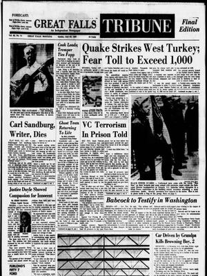 Front page of the Great Falls Tribune on July 23, 1967.