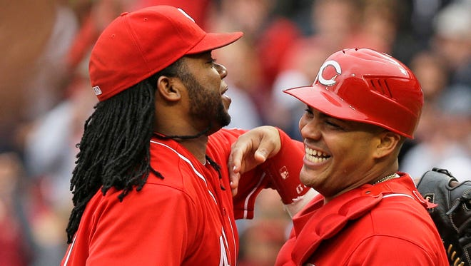 Johnny Cueto celebrates a shutout with Brayan Pena. Cueto is one of five pitchers with at least two complete-game shutouts.