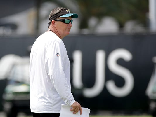 Jacksonville Jaguars head coach Doug Marrone watches players practice during NFL football training camp, Friday, July 28, 2017, in Jacksonville, Fla. (AP Photo/John Raoux)