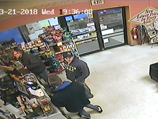 Surveillance footage shows the suspects in the Shongo