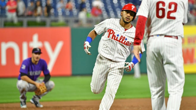 Philadelphia Phillies second baseman Jesmuel Valentin (9) heads for home after hitting a home run during the ninth inning against the Colorado Rockies at Citizens Bank Park. Mandatory Credit: Eric Hartline-USA TODAY Sports