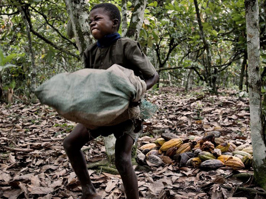 A young boy carrying a heavy load.
