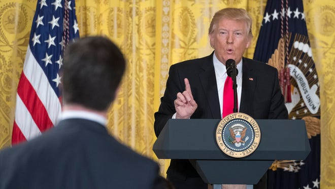 President Trump speaks with the press on Feb. 16, 2017.