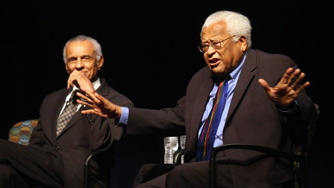 Civil Rights leaders Rev. James Lawson, right and Rev. C.T. Vivian speak about civil rights issues both 50 years ago as well as today as part of  Middle Tennessee State University's Constitution Day events on Thursday, Sept. 17, 2015.