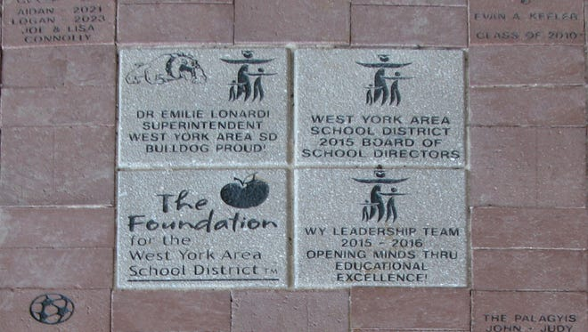 Some of the pavers already installed at West York's Bulldog Plaza