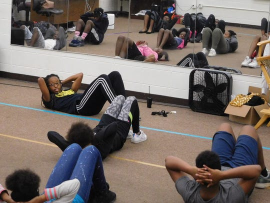 Students participate in conditioning to strengthen