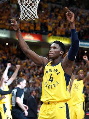 Indiana Pacers guard Victor Oladipo (4) celebrates following their game #3 of their NBA Eastern Conference playoff game on Friday April 20, 2018. The Indiana Pacers defeated the Cleveland Cavaliers 92-90.