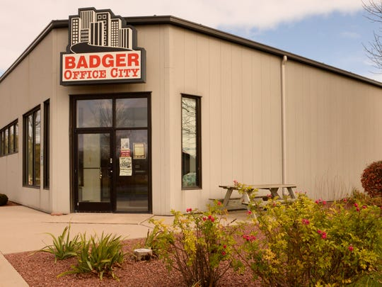 The front entrance at Badger Office City in Manitowoc.