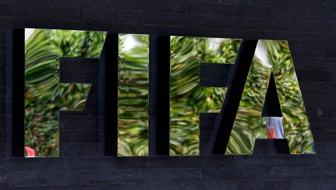 A view of the FIFA logo at the organization's headquarters in Zurich.