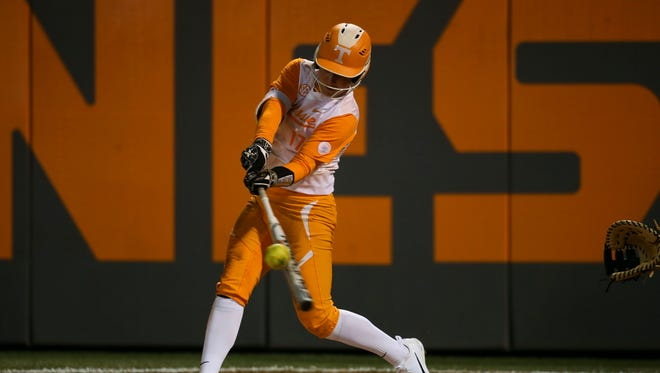 Tennessee infielder Chelsea Seggern takes a swing during Friday's game against South Carolina on Friday at Sherri Parker Lee Stadium.