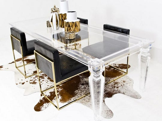 Plastics like Lucite and Plexiglas are used to make everything from aircraft parts to windows to furniture, such as this Lucite dining table.