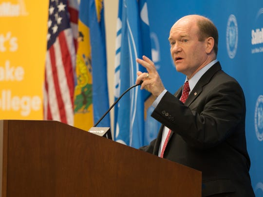 Senator Chris Coons speaks at the opening of Sallie