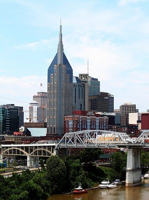 NASHVILLE - MAY 27:  Nashville skyline and Shelby Street Bridge as photographed from the Korean War Veterans Memorial Bridge in Nashville, Tennessee on May 27, 2016.  (Photo By Raymond Boyd/Getty Images)