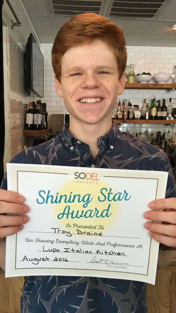 Troy Draine is one of 10 SoDel Concepts employees who received recognition for creating a positive environment for both their colleagues and the guests in the company's nine restaurants. Draine works at Lupo Italian Kitchen in Rehoboth Beach.