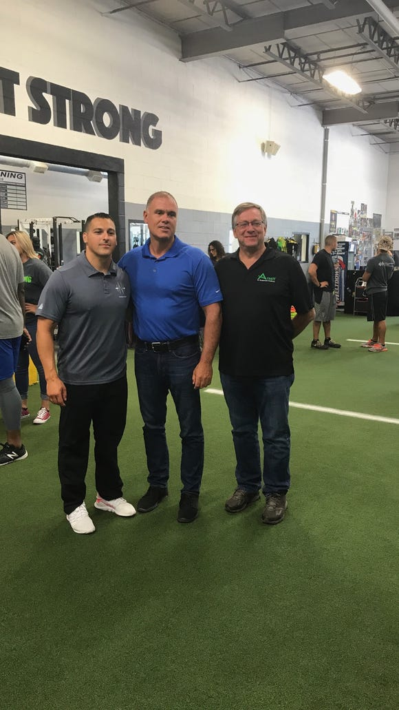 Mike Nunziato opened up a new TNT training facility on Sette Drive in Paramus. He is joined by Paramus Mayor Richard LaBarbiera and former Paramus Councilman Michael Blitzstein. No truth to the rumor that Nick Suriano has already performed every exercise possible in the place.