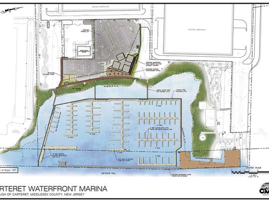 A rendering of the Carteret marina.
