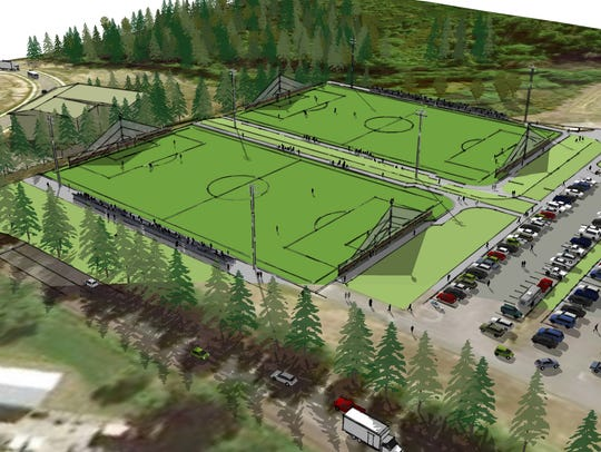 An artist rendering of the proposed turf fields at