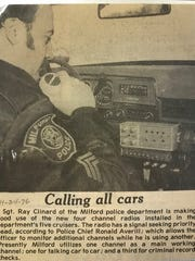 Then Sgt. Ray Clinard featured in a newspaper clipping about new radios in Milford Police cars.