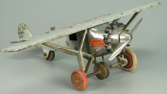 Iron airplane toy, Hubley, about 1935.