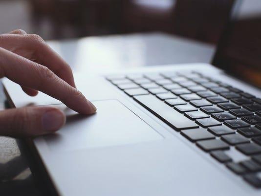 Email laptop typing