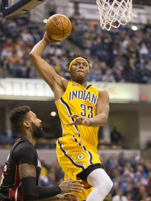 Myles Turner goes up for a dunk during action for Indiana Pacers vs. Miami Heat, Bankers Life Fieldhouse, Indianapolis, Sunday, March 12, 2017.