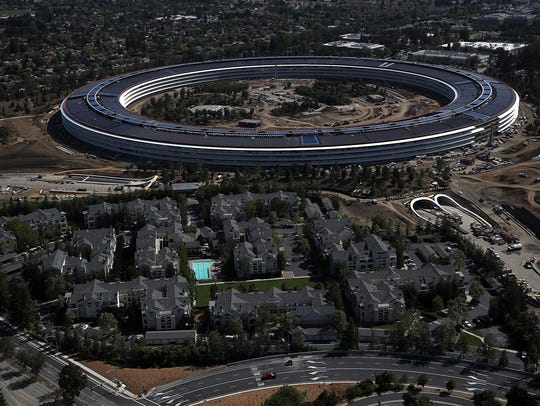 An aerial view of the new Apple headquarters on April