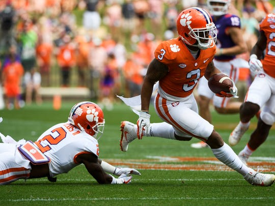 Clemson wide receiver Amari Rodgers (3) runs past cornerback
