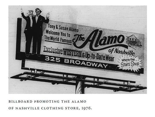A 1976 Nashville billboard promoting the Alamo of Nashville