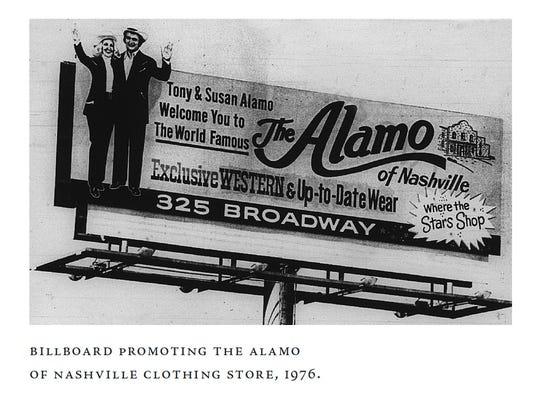 A 1976 Nashville billboard promoting the Alamo of Nashville clothing store.