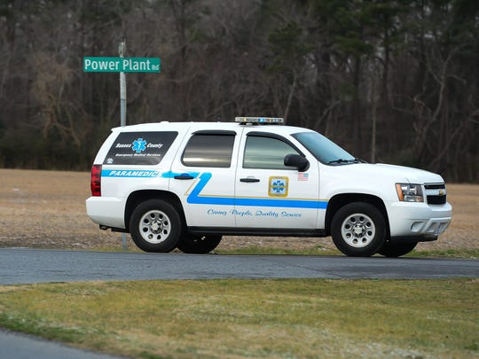 Sussex County Paramedics drive down Power Plant Rd. where Delaware State Police are investigating after a man fell to his death at the NRG Indian River Power Plant on Tuesday, Jan 31, 2017.