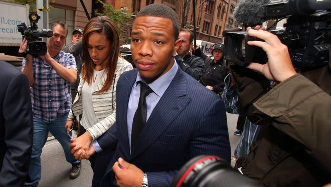 Suspended NFL running back Ray Rice arrives with his wife, Janay Rice, for his appeal hearing on his indefinite suspension from the NFL on Nov. 5 in New York.