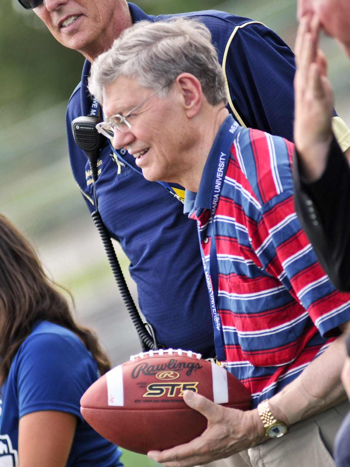 Ave Maria founder Tom Monaghan waits on the sidelines