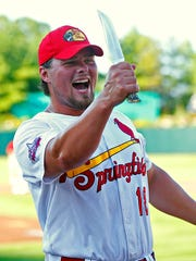 Springfield Cardinals first baseman Luke Voit (18) holds a hunting knife he earned after winning the Texas League All-Star Home Run Derby held before the league's All-Star Game at Hammons Field in Springfield, Mo. on June 28, 2016. Voit hit 30 home runs during the derby.