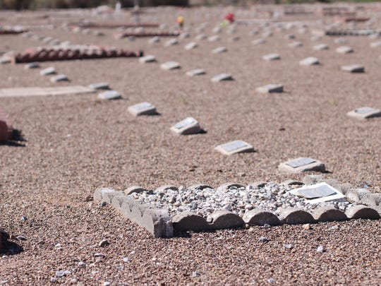 Headstones of deceased pets cover the ground at the Deming Animal Shelter cemetery.