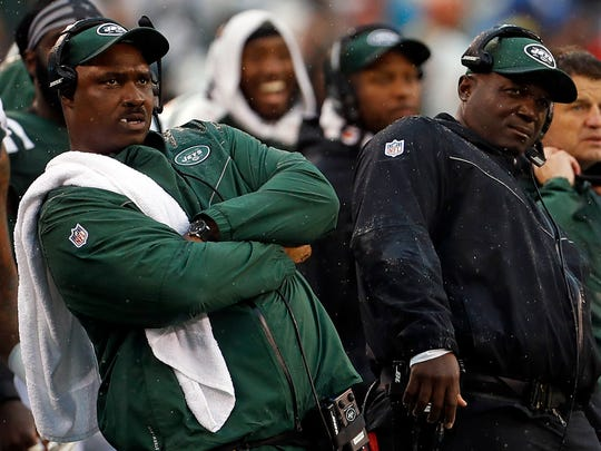 New York Jets head coach Todd Bowles reacts watching an extra point against the Atlanta Falcons during the first quarter at MetLife Stadium.