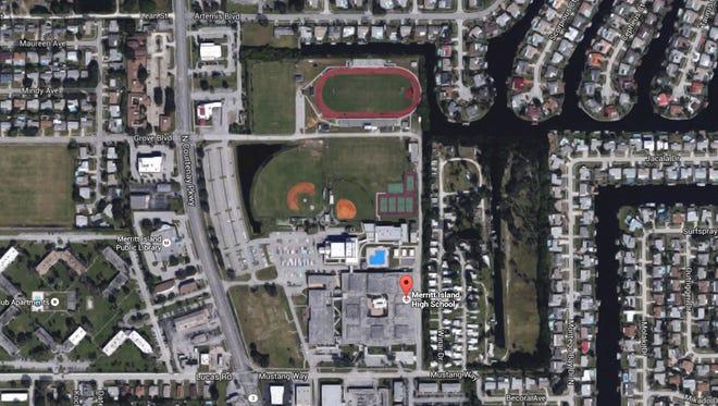 An aerial view of Merritt Island High school.