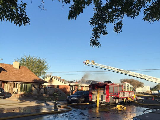 The El Paso Fire Department battles a fire Wednesday