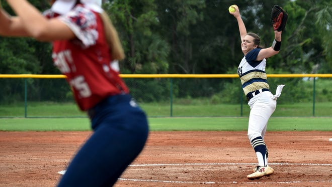 Aucilla Christian Academy starting pitcher Abigail Morgan pitches to Halle Morgan, of Master's Academy, in the first inning of their Class 2A state semifinal game at Historic Dodgertown on Monday, May 21, 2018 in Vero Beach. Aucilla Christian won the game, 4-0.